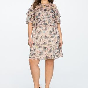 Eloquii Two Tiered Dress Thisle Do Print